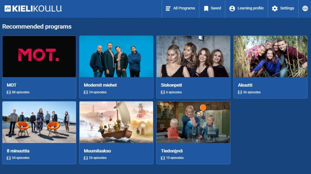 Скриншот kielikoulu.yle.fi